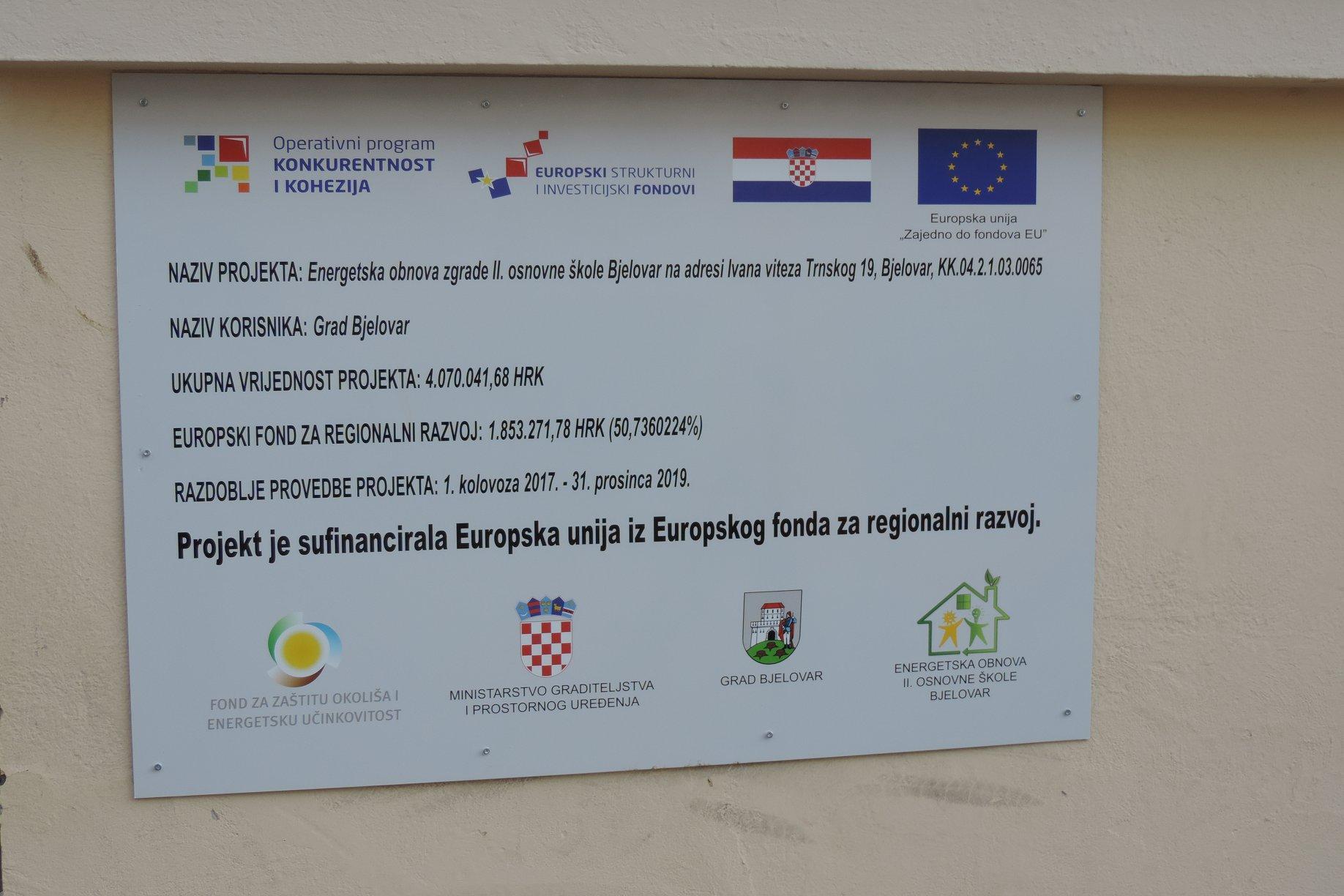 Energetska obnova II. osnovne škole Bjelovar